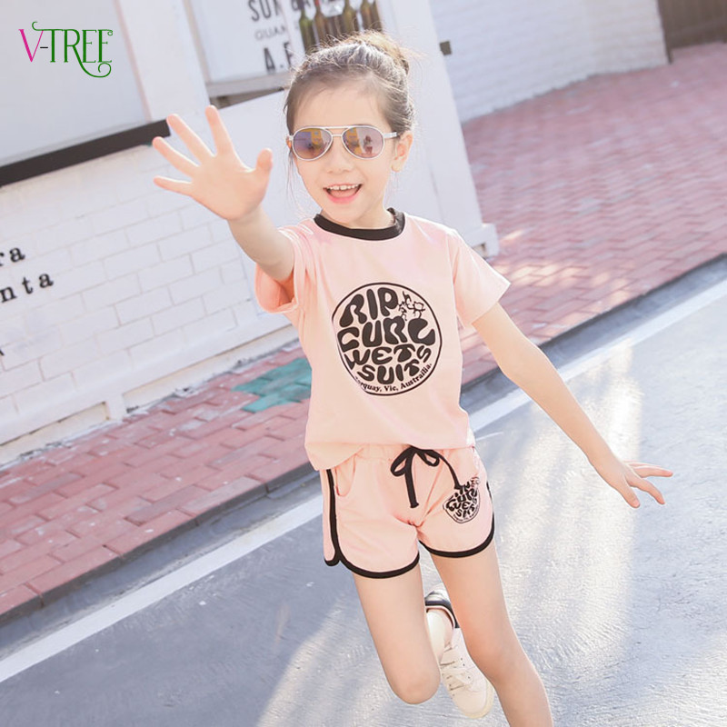 2016 girls sports clothing sets summer fashion short sleeve t-shirt + girls shorts suit sets pink green tracksuit for girl kids