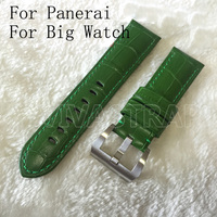 Personality 24mm Green Leather Strap Watchbands Mens Rough Strap Bracelet Wristband For PAM And Big Watches