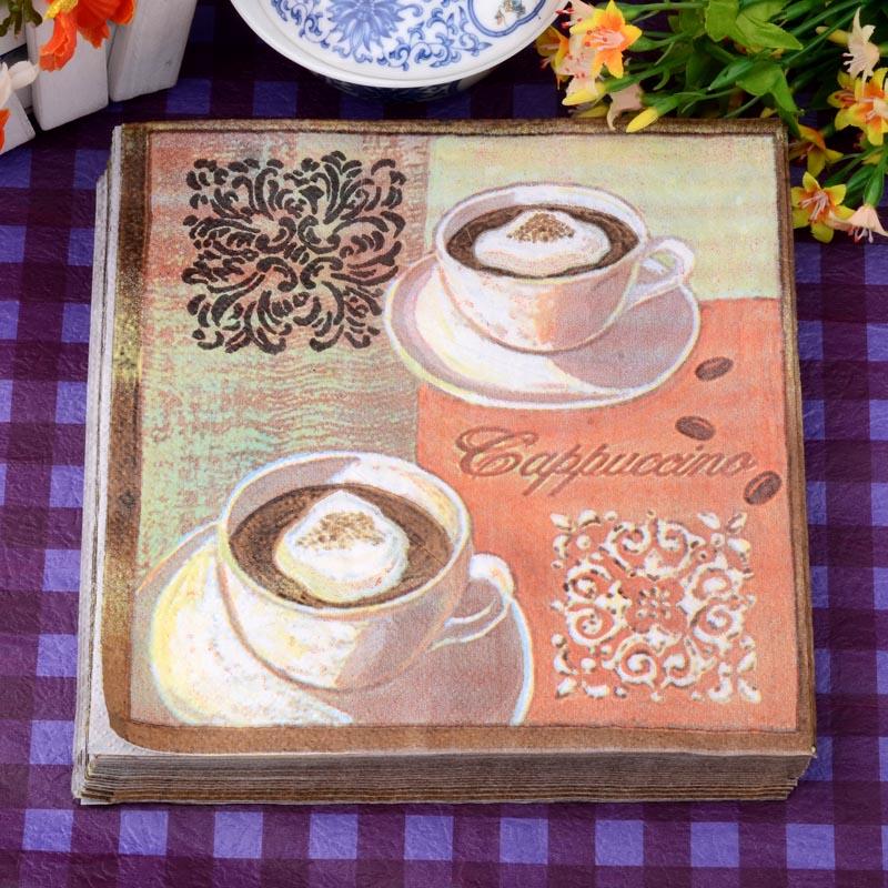 ᗕ33*33 vendimia Mesa servilletas papel tejido color café de ...