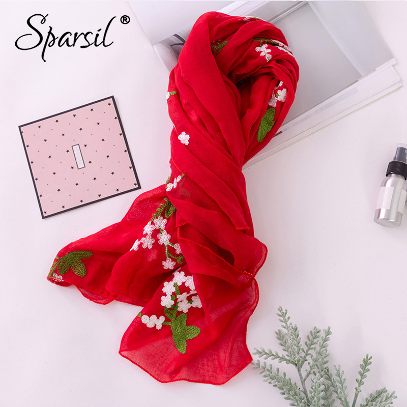 Sparsil Women Autumn Cotton Linen   Scarf   Summer Sun-Protective Patchwork Floral Embroidery Shawls National Style Beach   Wrap