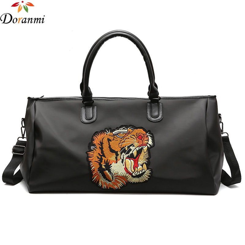 DORANMI Tiger Embroidery Luggage Travel Bags Waterproof Luxury Brand Designed Travel Bag Large Duffle Bags Black Trolley LXB017