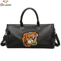 DORANMI Tiger Embroidery Luggage Travel Bags Waterproof Luxury Brand Designed Travel Bag Large Duffle Bags Black Trolley LXB017