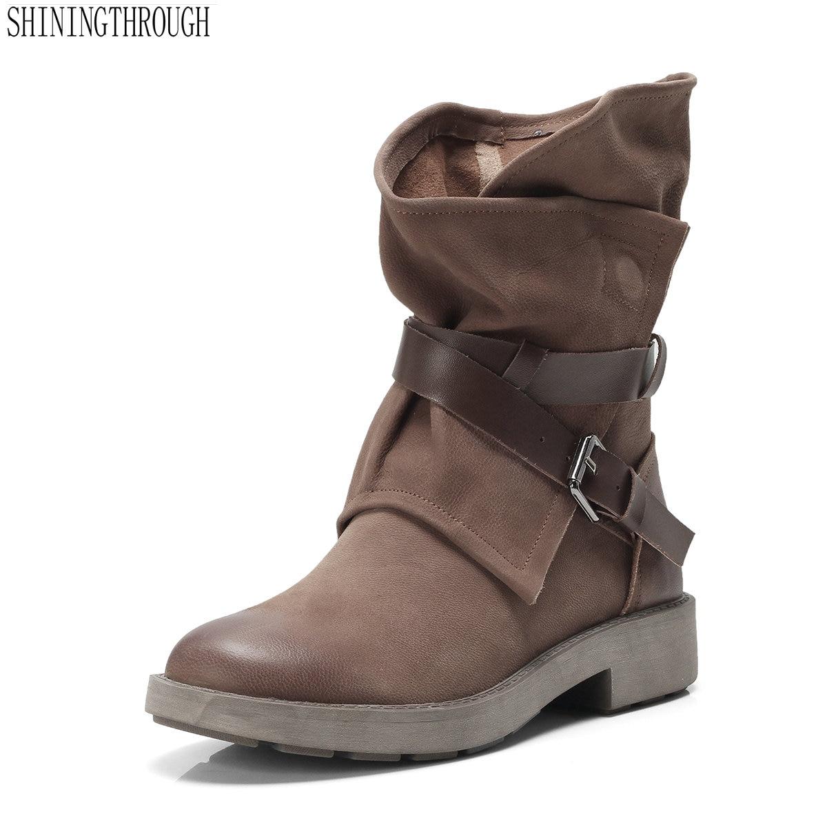 ファッション女性のブーツ本革秋冬靴最高品質ラウンドつま先パンクレトロ靴 Weman  グループ上の 靴 からの ミッドカーフブーツ の中 1