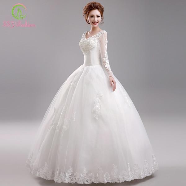 Ssyfashion Long Sleeve Wedding Dresses The Bride Elegant: SSYFashion 2017 Princess Bride Luxurious Lace Wedding