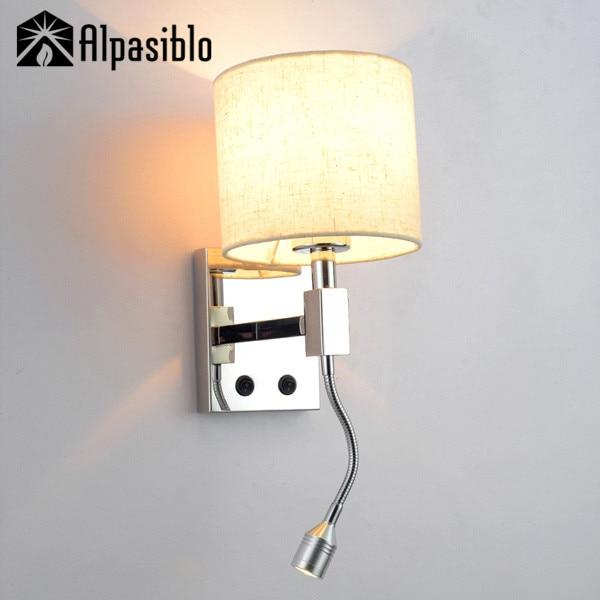 US $47.88 39% di SCONTO|Studio camera da letto applique da parete lampada  da lettura sul comodino lampada da parete del salone E27 lampade da parete  ...