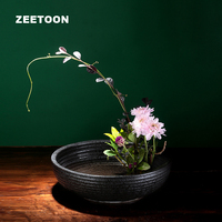 Zen Coarse Pottery Vintage Flower Pot Jardiniere Ikebana Kenzan Ceramic Tabletop Hydroponics Vase Plants Creative Home Decor New