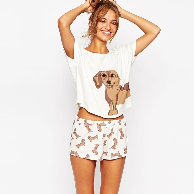 Moet &She Women's Dachshund Dog Print Sets 2 Pieces Set Crop Top + Shorts Stretchy Loose Tops Plus Size Elastic Waist S69305