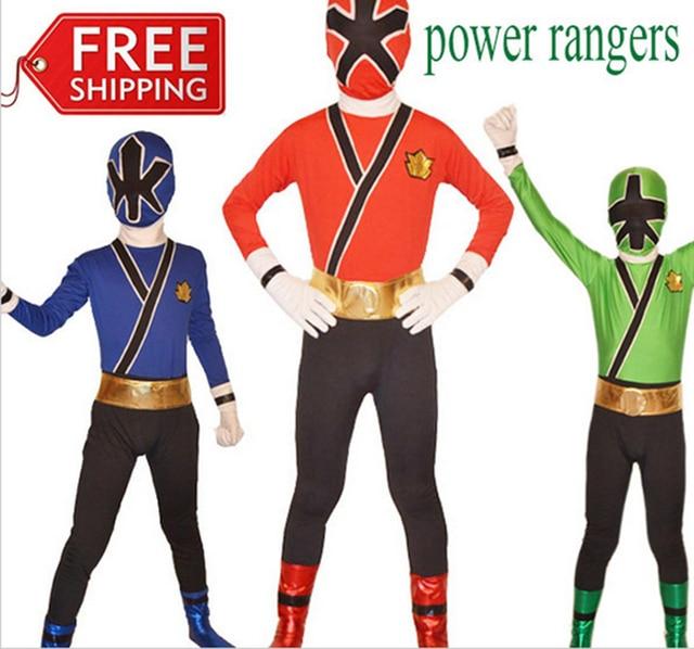 Power Rangers costume blue kids Samurai cosplay children Halloween costumes  for kids superhero spandex bodysuit zentai custom a089eeff0