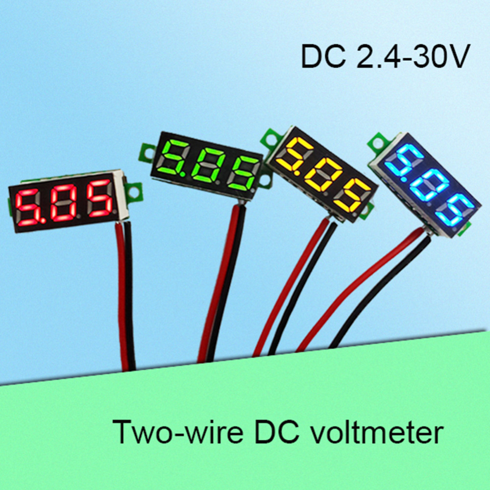 LCD 2 Wire 5-30V 0.28inch LED Small Red/Blue/Green/Yellow LCD Digital DC Voltmeter Voltage Meters Panel Meter Power Supplies 5pcs dc 6 12v measuring range 2 wire connect red led digit voltmeter