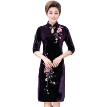 WAEOLSA Spring Woman Vintage Velvet Dress Chinese Ethinical Style Women Qipao Dresses Red Blue Flower Embroidery Plus Size