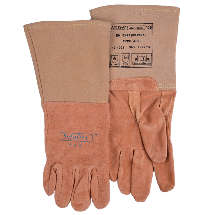 TIG Welder Glove Oxygen arc welding carbon velvet genuine leather high working gloves wear-resistant safety glove цены