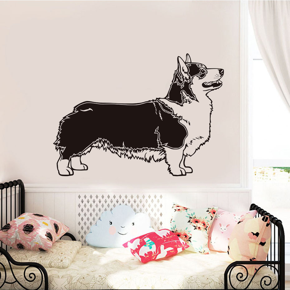 Pembroke Welsh Corgi Dog Wall Stickers For Kids Room Bedroom Removable Vinyl Waterproof Wall Art Decals Home Decoration