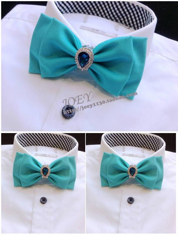 New woman Free Shipping fashion Mens male Blue green inlaid diamond Tiffany marriage collar performing arts host fresh bow tie