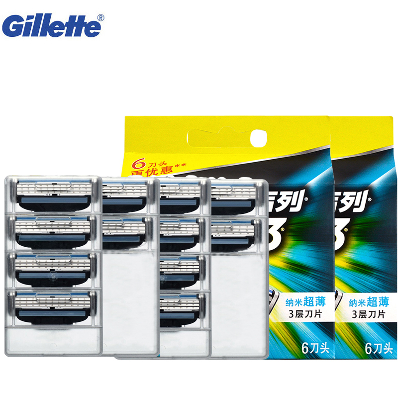 Razor Blade Gillette Mach 3 Safety Shaving Shaver Razor Blades Replacement Heads For Men Face Shaving Blades 12pcs yingjili razor manual razor metal holder 3 layers razor blades safty shaver for man care