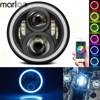 Marloo 7 Inch LED Headlight RGB Halo Phone App Bluetooth Controlled Multi Color For Harley Davidson Soft Tail Fatboy Road king