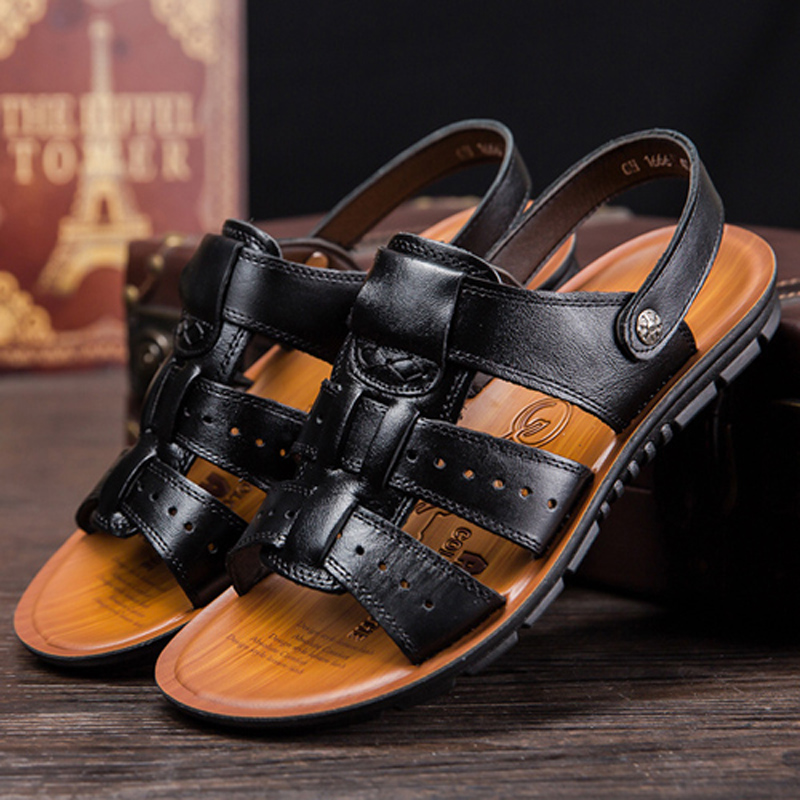 Men Sandals New Summer Leather Beach Walking Sandals for Man Fashion Brand Outdoor Male Casual Shoes Large size 38 47 614 in Men 39 s Sandals from Shoes