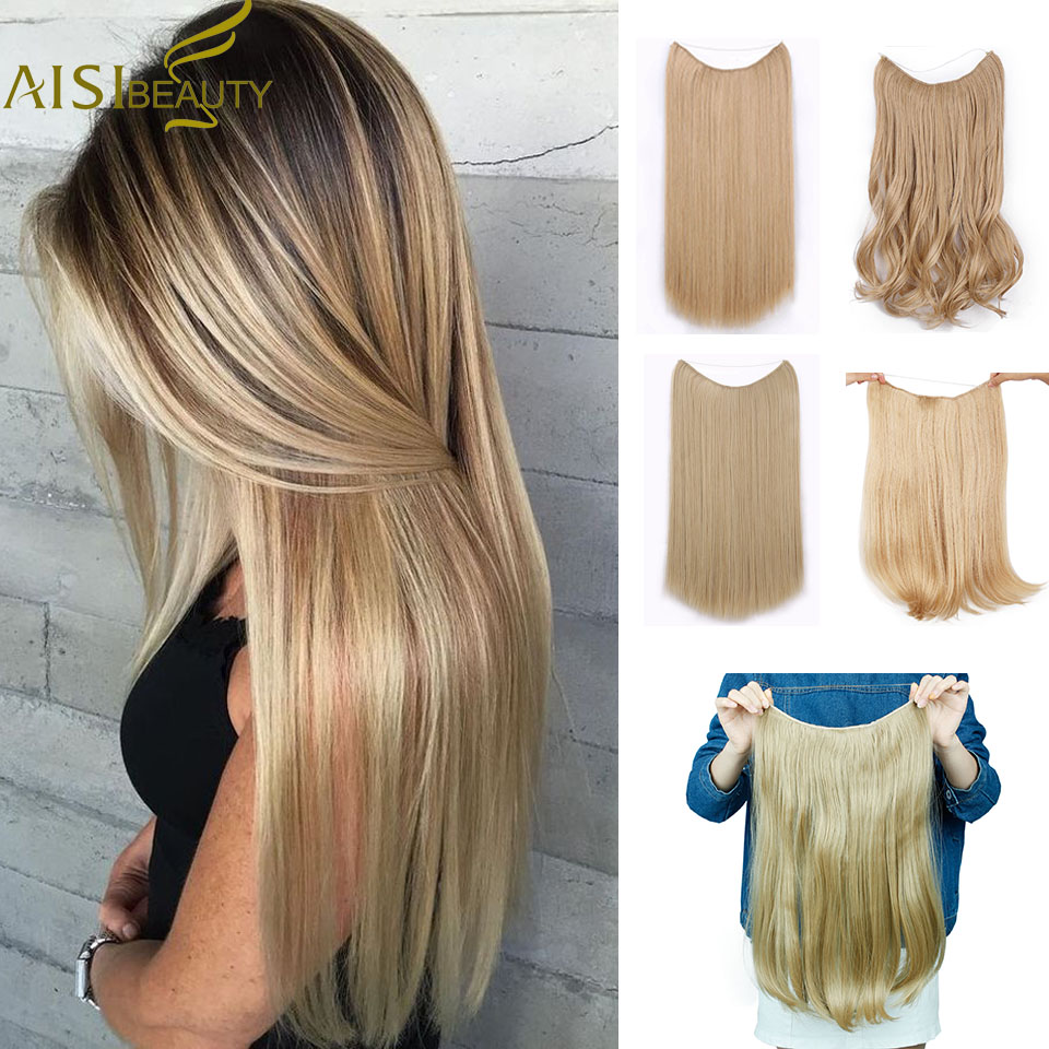 AISI BEAUTY Long Synthetic Hair Heat Resistant Hairpiece Fish Line Straight Hair Extensions Secret Invisible Hairpieces