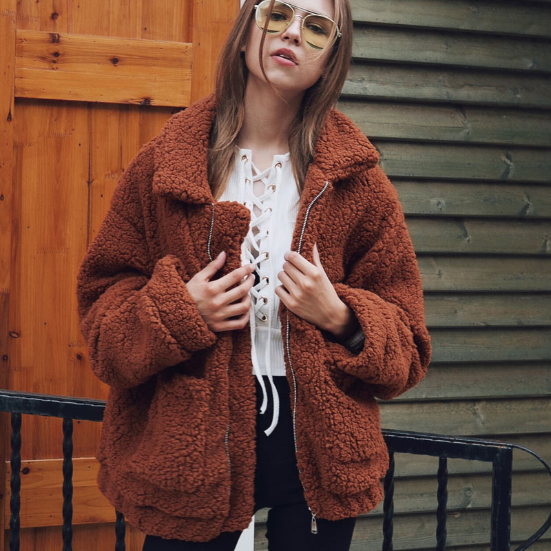 Women jacket 2020 autumn winter jacket fashion female coat new zipper sweaters lapel loose fur jacket women outerwear women coat