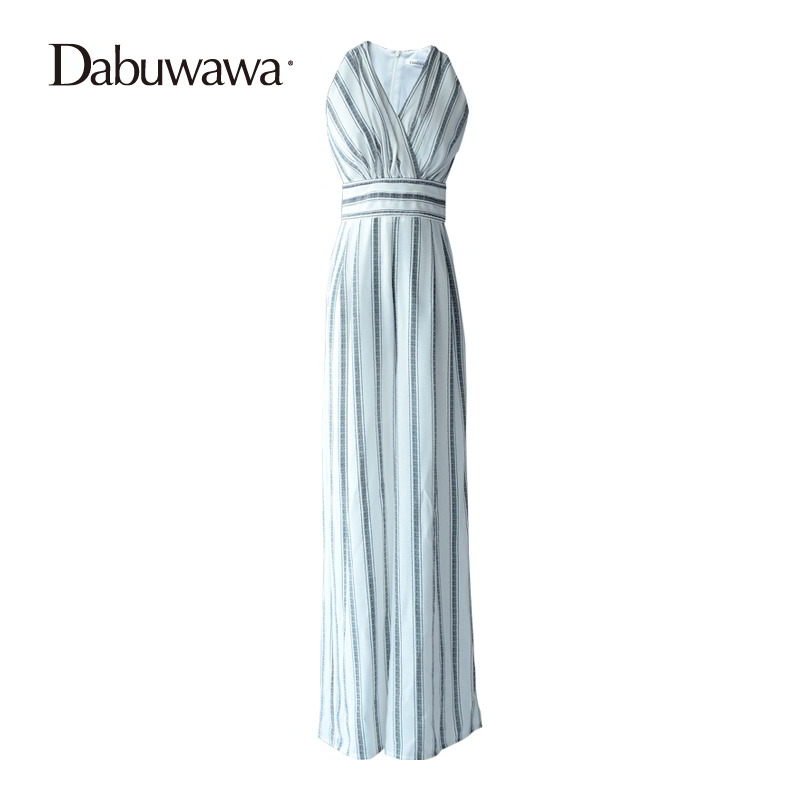 Dabuwawa Brand Women Loose Jumpsuit Stripe Wide Leg Jumpsuit Sleeveless Boot Cut Jumpsuit Maxi Overalls Long Pant #D17BJP080