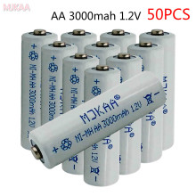 50pcs 1.2V 3000mAh NI MH AA Pre-Charged 3000mah Batteries Ni-MH Rechargeable aa Battery For Toys Camera Microphone