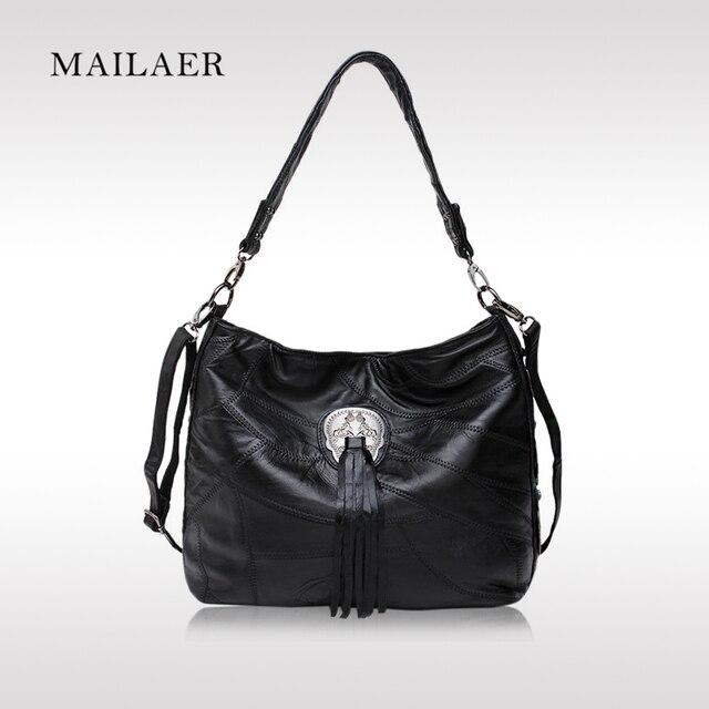 MAILAER Brand New Genuine Sheepskin Leather Women Leisure Casual Bag Lady Elegant Patchwork Shoulder Bag With Lock Decoration
