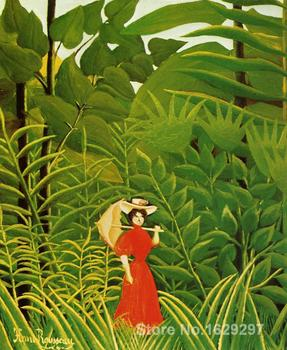 Paintings for living room wall Woman with an Umbrella in an Exotic Forest Henri Rousseau High quality Hand painted