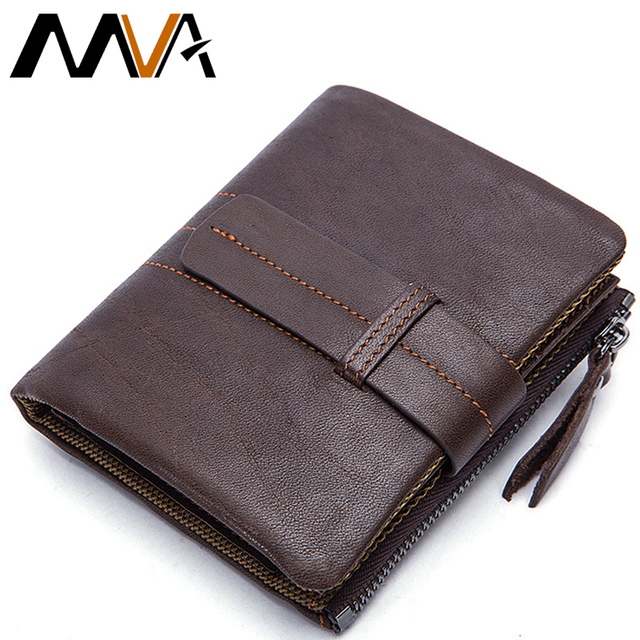 MVA Genuine Leather Wallets top leather Men Wallets Clutch Fold Short Male Wallet Purse Coin Pocket Purse Card Holder
