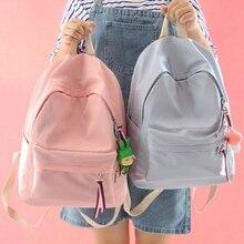 Einfache frische design reine farbe nylon frauen rucksack mode mädchen schultasche student book bag waterpoof reisetasche