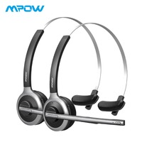 2 Pack Mpow M5 Bluetooth Headsets Over Ear Wireless Headphones With Crystal Clear Microphone For Truckers/Drivers/Calling Center
