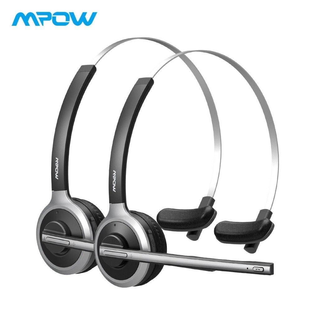 Pack de 2 casques Bluetooth Mpow M5 sur l'oreille casque sans fil avec Microphone cristal clair pour les camionneurs/conducteurs/Center d'appel