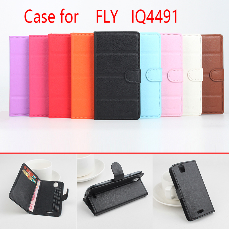 For FLY IQ4491 Phone Case Folio Flip Pure Color Lichee Pattern PU Leather Wallet Case Cover Cash/Card Slots SH