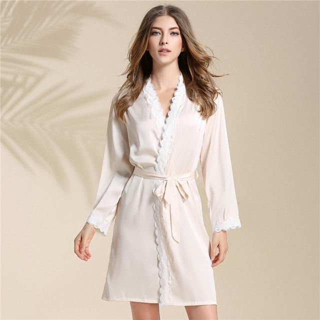 555ad95f9d Single Paper Robe Woman Woman Summer Sexy Pajamas Ma am Ice Silk Lace Silk  Long Sleeve Home Furnishing Serve Spring And Autumn