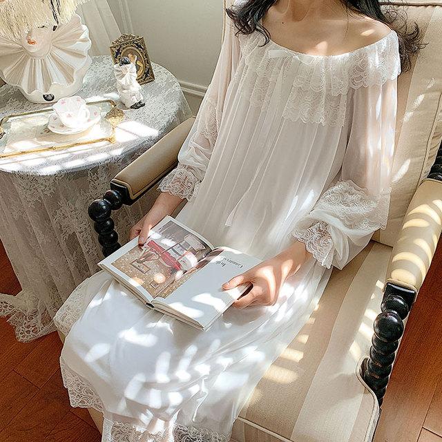 UNIKIWI damska Lolita księżniczka Mesh koszule nocne koszule nocne w stylu Vintage duży kołnierz koronki siatki koszule nocne w stylu wiktoriańskim koszula nocna snu piżamy tanie tanio Kobiety Połowy łydki Wiosna Stałe Elastan COTTON Wokół szyi Pełna Mesh Lace S-0008