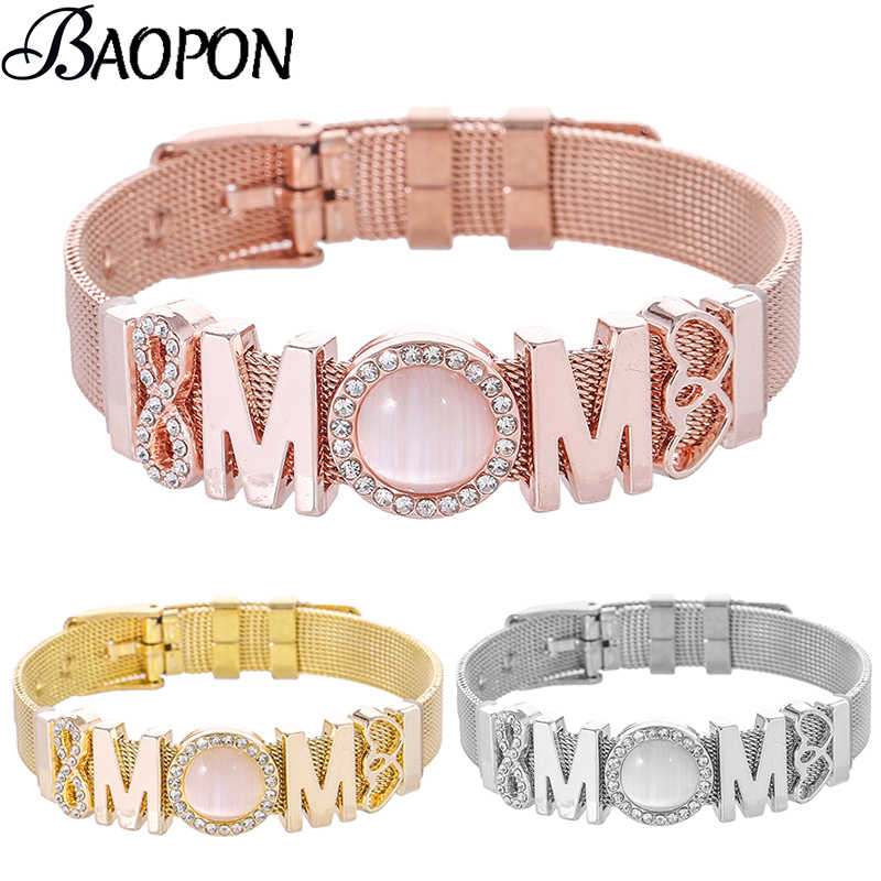 BAOPON Unlimited Love MOM Mesh Charm Bracelet Set Stainless Steel DIY Fine Bracelet Bangle for Women Mother Fashion Jewelry