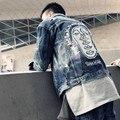New Arrival Fashion Mens Hole Rip Jean Jackets Long Sleeve Denim Coats Retro Brand New Printed Casual Coats M-3XL Free Shipping