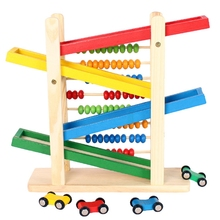 Baby early Educational Wooden Toy Creative Colorful Abacus With 4 Cars Teaching Learning Toy Abacus Slippery Car Math Toy цены