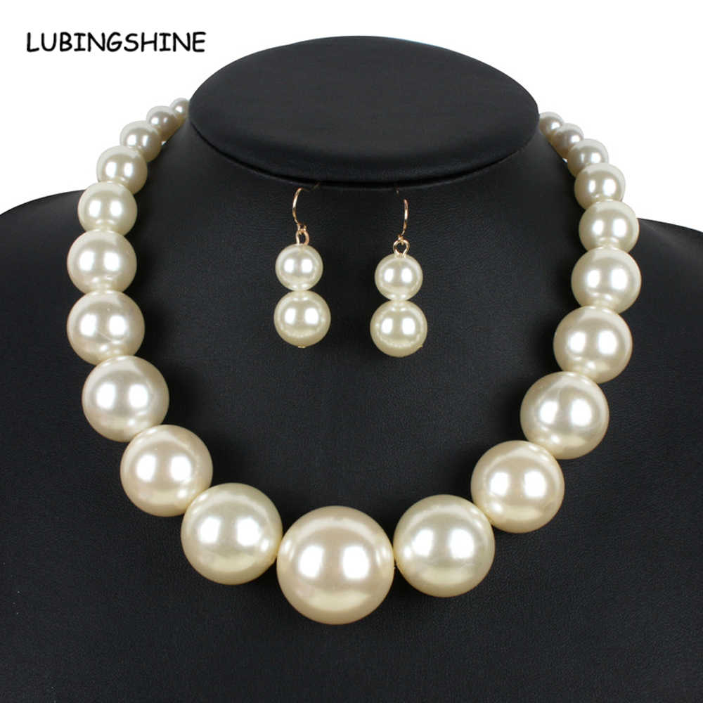 Trendy Big Simulated Pearl Necklace Jewelry Sets For Women 2017 New Brand Fashion African Beads India Jewellry Sets JJAL T204