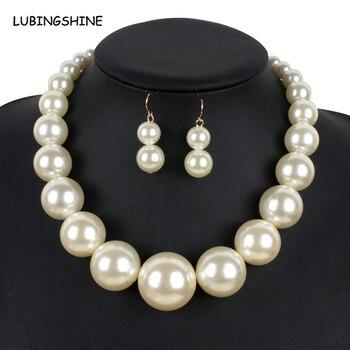 Модный большой искусственный жемчуг ожерелье Ювелирные наборы для женщин 2017 Новый бренд Модные африканские бусы индийские комплекты ювелирных украшений JJAL T204