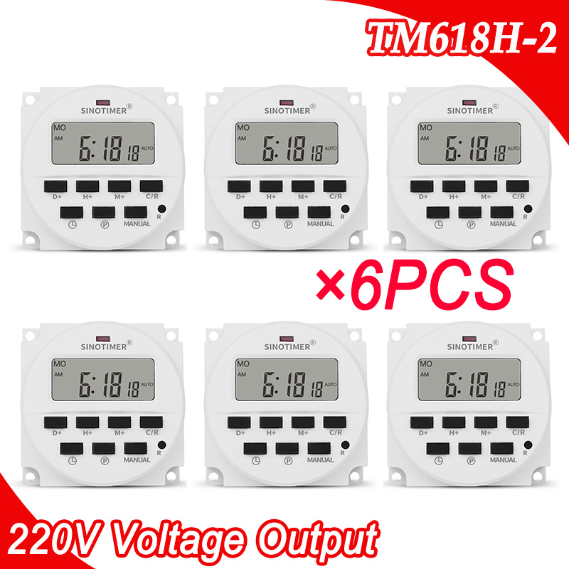 6PCS/Lot TM618H-2 220V AC Voltage Output Digital Time Relay 7 Days Weekly Programmable Timer Switch 220V for Lights Applications thc15a zb18b timer switchelectronic weekly 7days programmable digital time switch relay timer control ac 220v 30a din rail mount