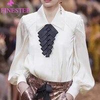 Модные однотонные 100% шелковая блузка Для женщин 2019 Мода Офисные женские туфли Питер Пэн воротник блузки высокое качество Для женщин блузка