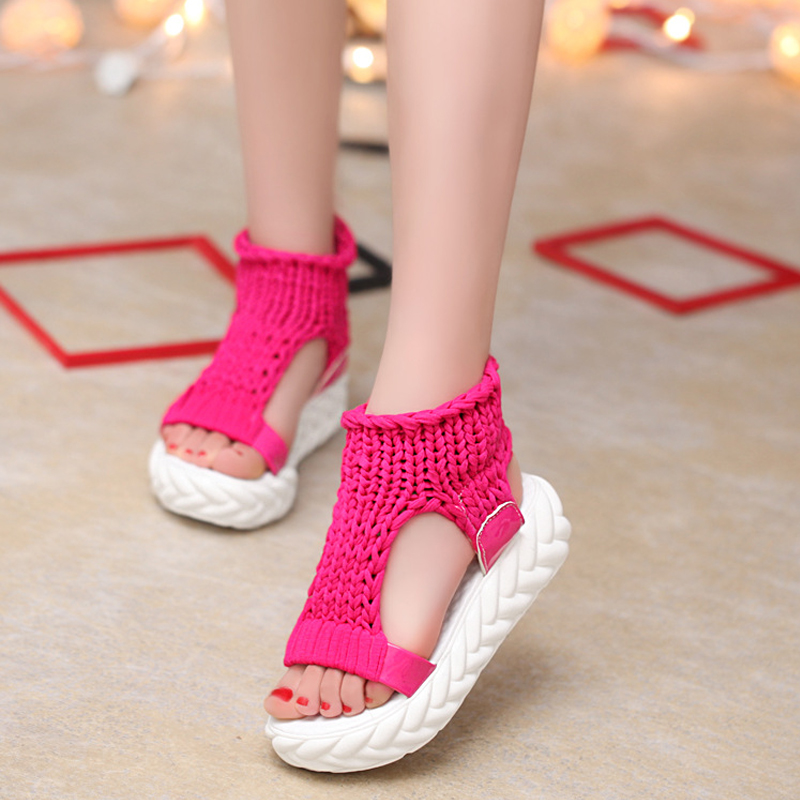 Fashion casual Gladiator Summer Women Sandals shoes Comfortable Open Toes white Heels Bohemia Platform Ladies beach Shoes HBT706 women creepers shoes 2015 summer breathable white gauze hollow platform shoes women fashion sandals x525 50
