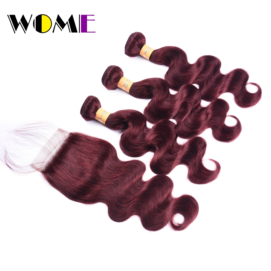 Wome Hair 3 Bundles with Closure Brazilian Body Wave Burgundy Bundles with Lace Closure Non Remy Human Hair Bundles with Frontal