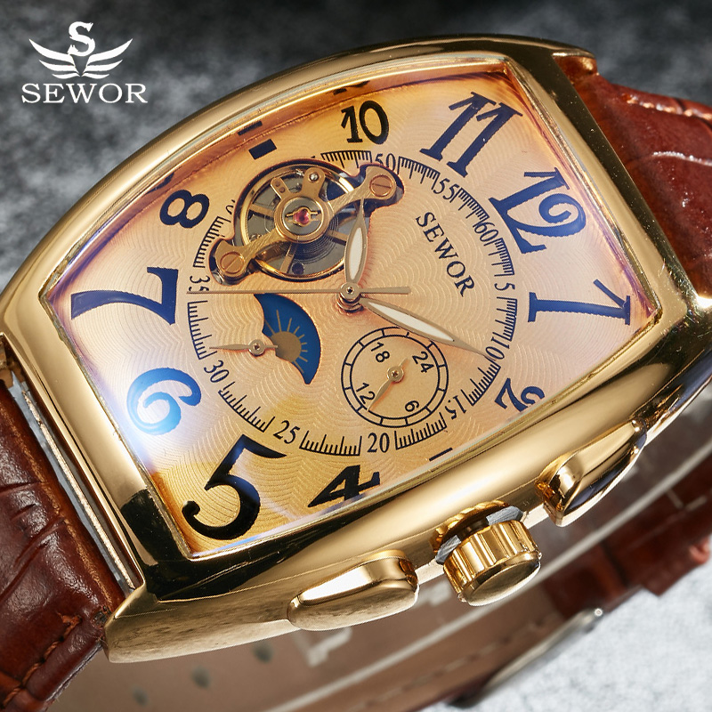 SEWOR Tourbillon Automatic Mechanical Watch Men Designer Moonphase Square Leather Skeleton Watches Auto Date Business Watch