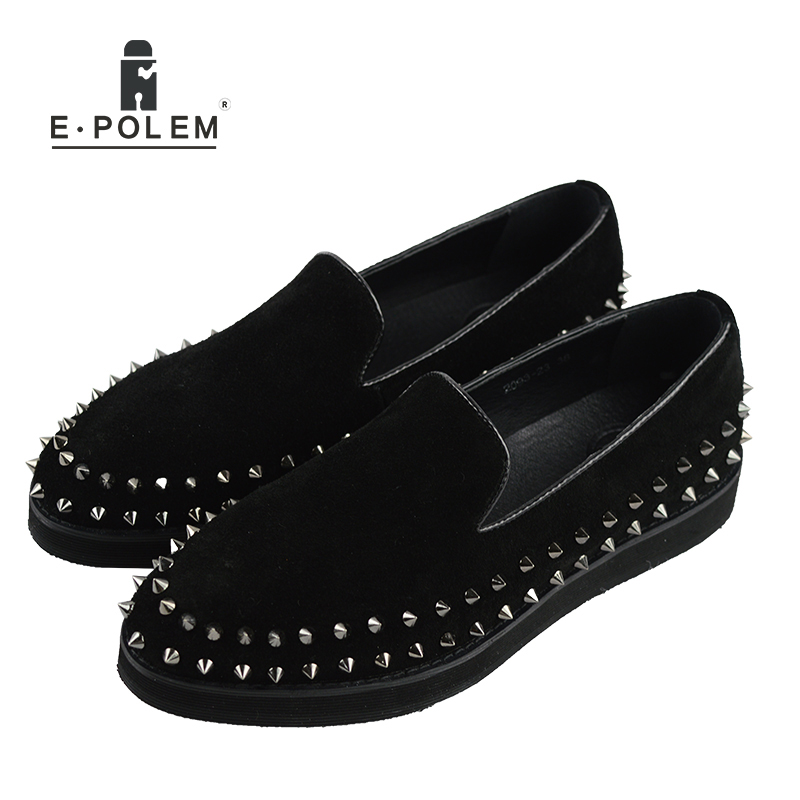 Men Black Genuine Leather Shoes Silver Rivet Fashion Men Loafers Mens Flat Shoe Male Spikes Suede