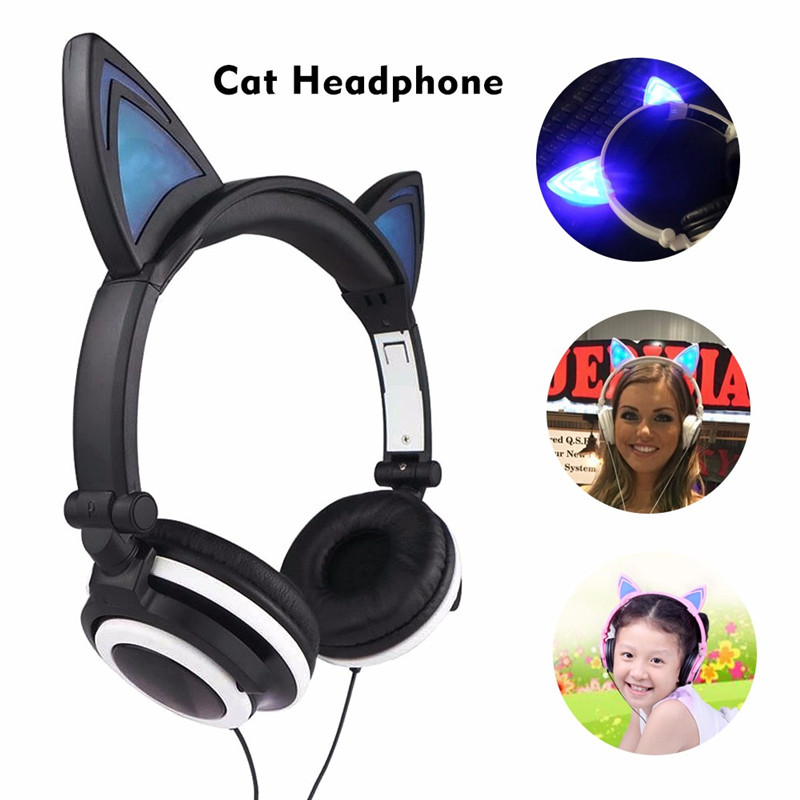 Foldable Flashing Glowing cat ear headphones Gaming Headset Earphone with LED light For PC Laptop Computer Mobile Phone teamyo glowing cat ear headphones gaming headset auriculares music earphone with led light for iphone xiaomi mobile phone pc mp3