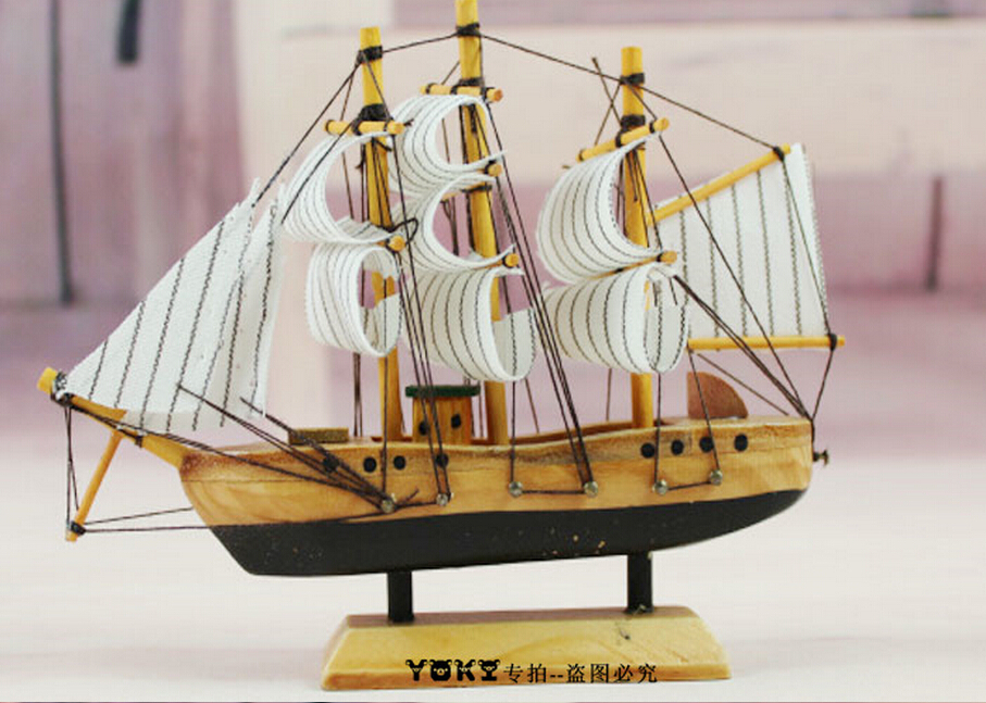 15cm creative wood crafts hand made ship home decoration items vintage decorative modern artificial from reliable - Decorative Home Items