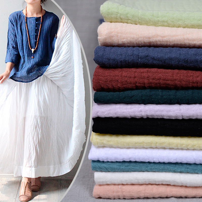 Double deck Thick Bamboo ma cotton linen fabric 1.3m wide chinese style pleated fabric solid color summer clothes dress DIY