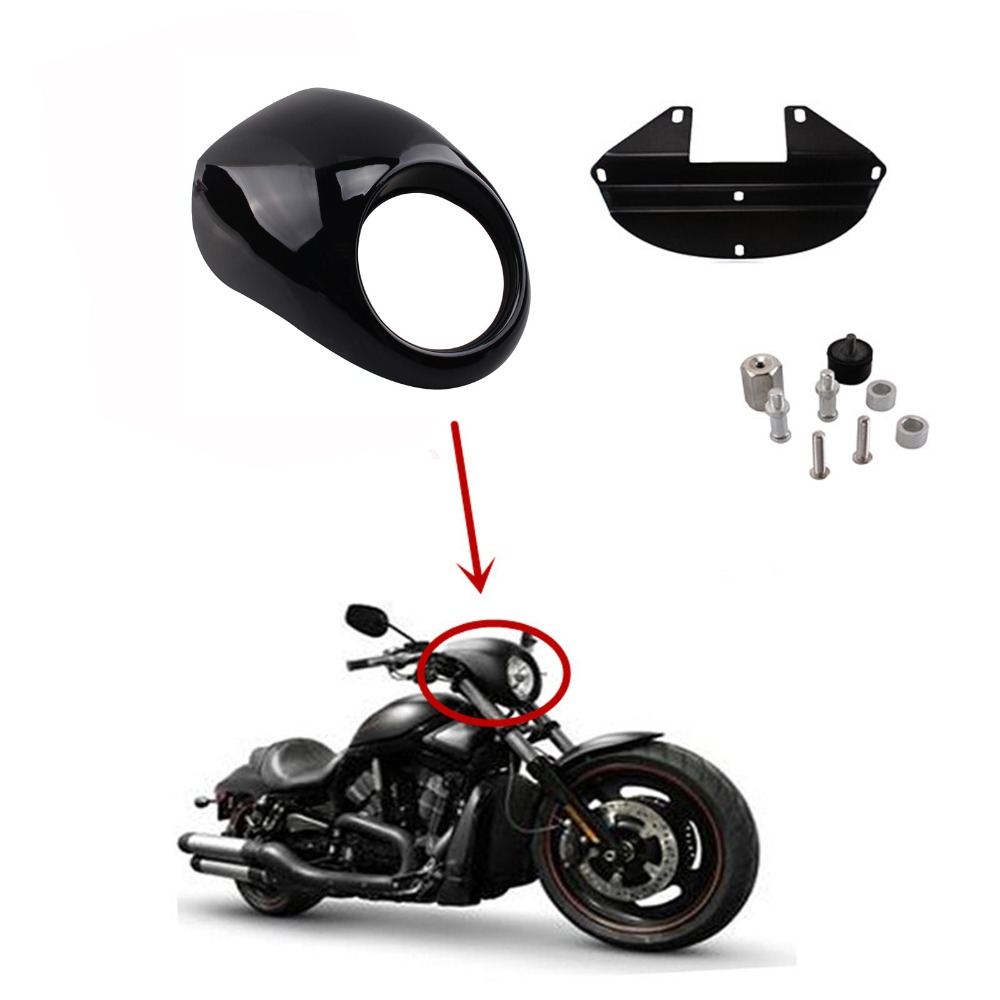 Motorcycle Headlight Faring Mask Cover Gloss Black Front Cowl Fork Mount Bezel For Harley Davidson Sportster Dyna FX/XL 1973-up gloss black front cowl fork mount headlight fairing visor grill mask for harley sportster dyna xl fx 883 freeshipping d30