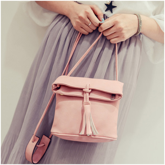 Simple Fashion Korean Women Messenger Bag Leather Solid Color Drawstring Tassels Zipped Ladies Girls Shoulder Bags BS88 simple fashion women handbag solid color clutch bag leather envelope bags ladies over shoulder package 88 wml99