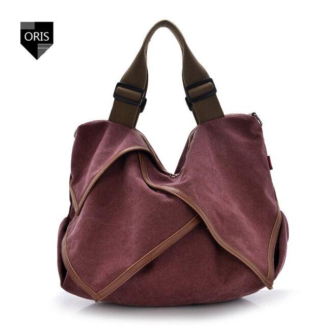 ORIS Designer Quality Canvas Women s Handbag England Style Casual Tote Bag  Popular Pleated Big Capacity Shopping d9618d49f7dd5